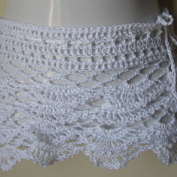 crochet Lace skirt, WHITE, mini,  ruffles, beach cover  up, summer skirt, boho, hippie, festival