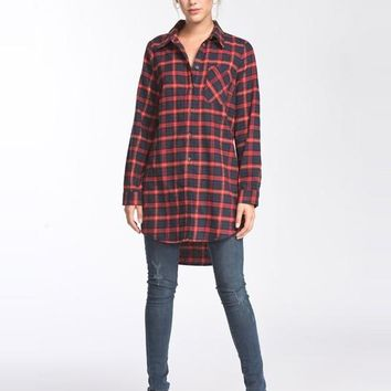 Oversized Flannel Top - Red