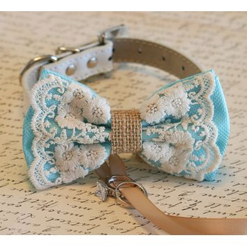 Lace Dog Bow Tie collar, Lace and Burlap, Dog ring bearer, Pet wedding, Rustic, Bohemian, Proposal, Something blue