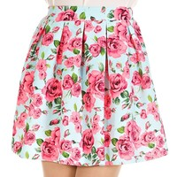 Feminine Floral Pleated Full Mini Skirt - Mint