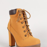 Bamboo Nubuck Chunky Heel Platform Lug Sole Work Bootie Color: Honey Wheat, Size: 8