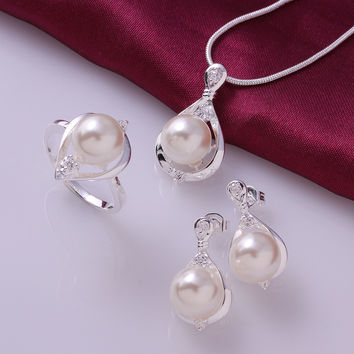 ELITE Crystal pearl necklace earrings ring jewelry 925 sterling silver sets