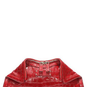 Alexander McQueen 'Small Demanta' Croc Embossed Patent Deerskin Leather Clutch | Nordstrom