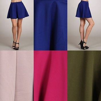Sexy Ponte Knit Stretch Waist Pleated Flared A-Line Mini Skater Peplum Skirt
