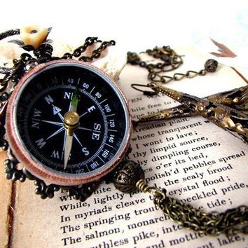 Steampunk Compass Rose Pendant Necklace by PoeticDesigns on Etsy