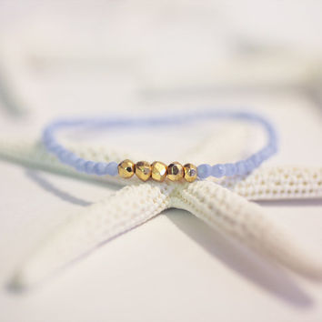 Dainty Blue and Gold Stretch Bracelet