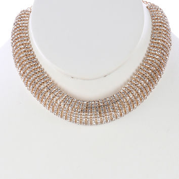 """12"""" clear crystal layered choker bib collar necklace .75"""" wide prom bridal"""