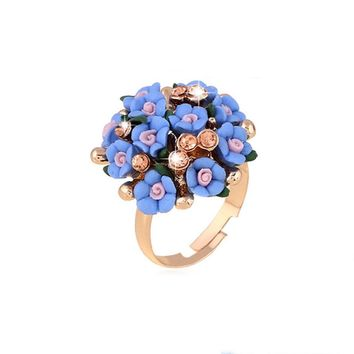 MISANANRYNE Fashion Beautiful Ceramic Flower Ring for Women Adjustable Wedding Rings Jewelry 7 Colors Summer Style Rings