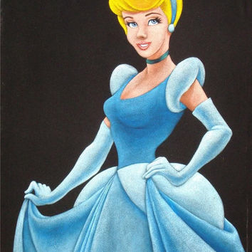Disney Princess Cinderella black velvet oil painting handpainted signed art