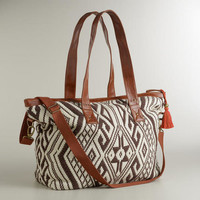 Brown and Ivory Large Aztec Bag
