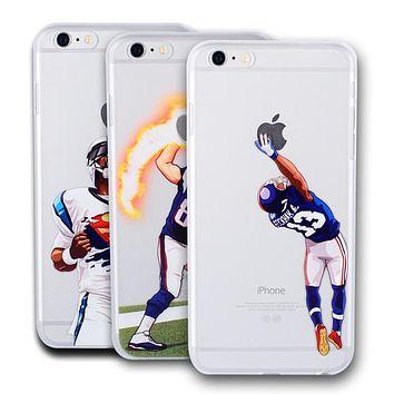 American Football Player Star Phone Case for iphone 5 5s se 6 6s 7 7 plus Odell Beckham Jr. Cam Newton Rob Hard NFL Phone Cover