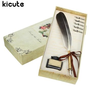 Kicute Black Vintage Quill Feather Dip Pen Writing Ink Set Stationery Gift Box With 5 Nib Wedding Gift Quill Pen Fountain Pen