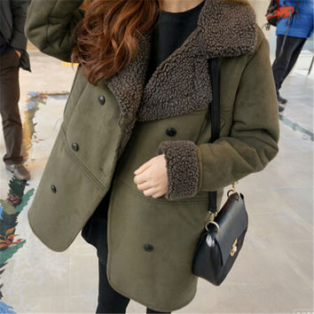 New Women's Winter Jacket Wadded Padded Cotton Outerwear Female Thick Suede Coat Loose Parkas Ladies Clothing Big Size LQ108