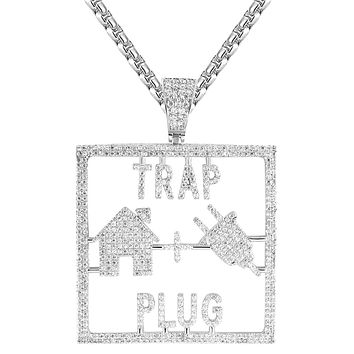 "IcedOut Trap House Plug Custom Square Pendant 24"" Chain"