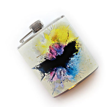 Abstract Batman Inspired Art Flask Comic Book Superhero Unique Bruce Wayne DC Comics Gift