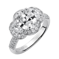 """Artcarved """"Trisha"""" Three Stone Diamond Oval Halo Engagement Ring Featuring a Total Carat Weight of 0.93 Carats"""