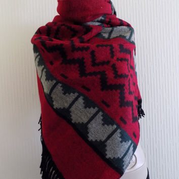 Blanket Scarf Winter Shawl Scarf Aztec Red Black Neck Wrap, Oversized Kilim Aztec Blanket Scarf,Geometric Shawl,Kilim scarf,Aztec wrap