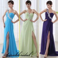 One-shoulder Colors Chiffon Long Ruffled Wedding Party Bridesmaids Prom Military Dresses