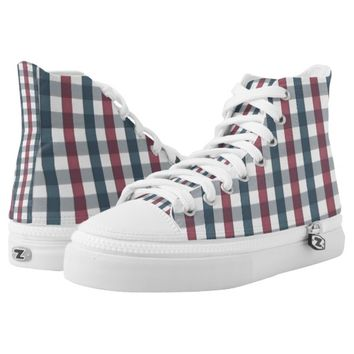 patriotic plaid printed shoes