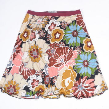 Marsala Red Garden Silk Jersey A-Line Skirt - Above the Knee Cut Floral Print in Pink, Burgundy, Tan, Gold, Slate Blue, and Green on Black