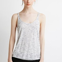 Contemporary Marled Knit Pleated-Back Tank