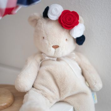 Red, White and Blue Rose Headband