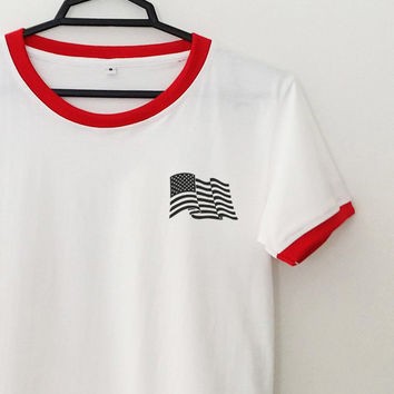 4th of july ringer tee tumblr top pocket american flag graphic shirt for womens girls teens hipster grunge tshirt cool gifts fashion