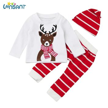 LONSANT Newborn 2018 Baby Boy Girl Christmas Deer Print Long Sleeve Tops+Pant+Cap Outfits for 0-2T baby Clothes Set