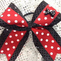 Mickey/Minnie Mouse Polka Dot Sparkle Cheer Dance Bow Ribbon