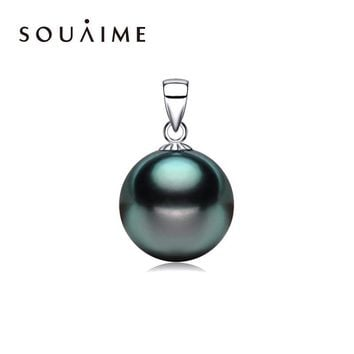 SOUAIME Pearl Pendant 9-12MM Tahitian Shell Pearl Pendant Fashion Sterling-Silver-Jewelry Girls Gift