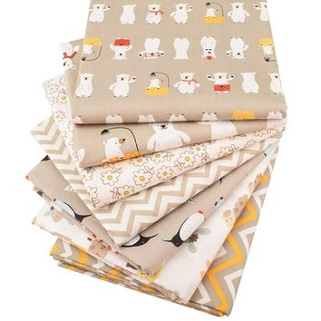 7pcs/lot Cartoon Printed Twill Cotton Fabric Patchwork Cloth DIY Sewing Quilting Material For Baby&Children