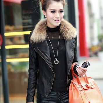 New Winter Autumn Warm Stylish Synthetic Leather Jacket Short Coat With Real Fur Collar High Quality AP = 1932594884