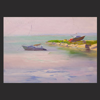 Seascape painting - Boat Paintiing - Lilac Boat Art - Oil Painting - Canvas Art by Yuri Pysar