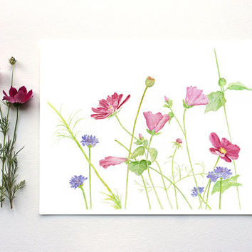 Wildflowers Watercolor Painting - Wildflower Print, Flower Print, Summer, Garden, Pink Flowers, Cosmos, Pastel, Pink, Green