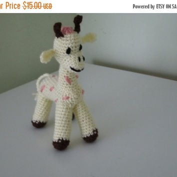 ON SALE - 10% OFF Crochet toy animal... stuffed Giraffe...Small soft save amigurumi toy