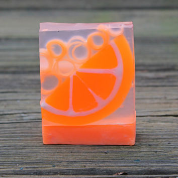Orange Soap, Neon Orange, Sweet Orange Soap, Glycerin Soap, Citrus Soap, Orange Essential Oil Soap, Novelty soap, handmade soap. soap gift