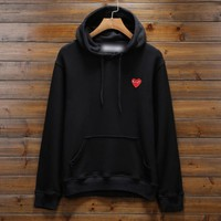 Comme des garçon play: Fashion Hooded pullover Sweatshirt