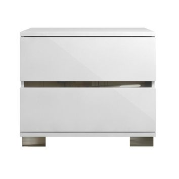 Acrylic Lacquer 2 Drawer Nightstand With Chrome Legs White