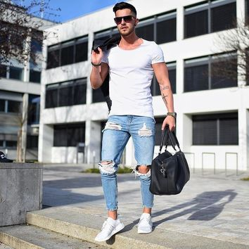 Plus Size Men's Jeans Pants Stretch Destroyed Ripped Jeans Ankle Length Skinny Pants Zipper Denim Jeans For Men Clothing