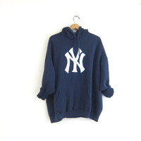 Vintage navy blue sweatshirt. Hooded New York Yankees sweatshirt. cotton boyfriend hoodie