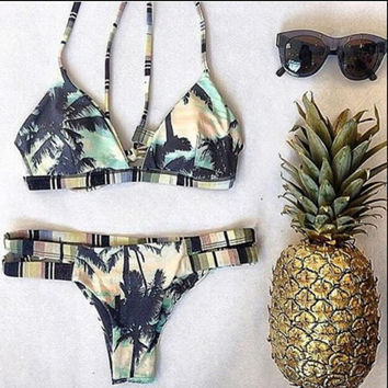 HOT PRINT TREE PINEAPPLE TWO PIECE BIKINIS