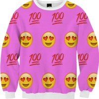 Pink/Emoji Sweatshirt created by trilogy-anonymous | Print All Over Me