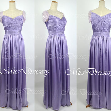 Cap Sleeves Sweetheart Silk Chiffon Long Orange Purple Prom Dress Wedding Party Dress, Evening Dress, Evening Gown