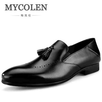 MYCOLEN Hot Sale Luxury Brand Men Casual High Quality Loafers Tassel Wedding Minimalist Design Dress Loafers Zapatos-Hombre
