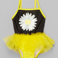 Yellow & Black Daisy Skirted One-Piece - Infant & Toddler