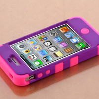 Stylus + For iPhone 4 4S Hybrid High Impact Case Cover Purple / Pink Silicone