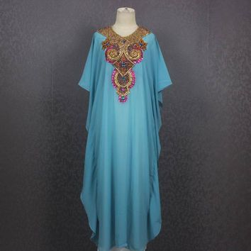 Very Fancy Sequin Caftan Dress, Blue Moroccan Dubai Abaya Maxi Caftan Dress, Maxi Kaftan Gowns Dresses Plus Size Caftan Maxi Dress