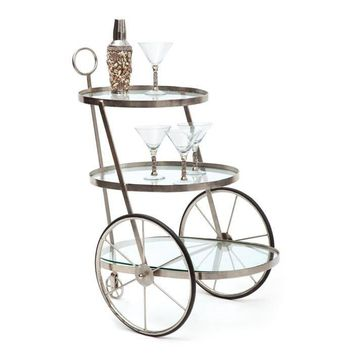 Miami Bar / Tea Cart Nickel Plated Iron and Glass