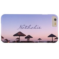 California palapa beach sunset photo custom name barely there iPhone 6 plus case