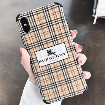 Burberry & Dior New fashion letter plaid print couple protective cover phone case